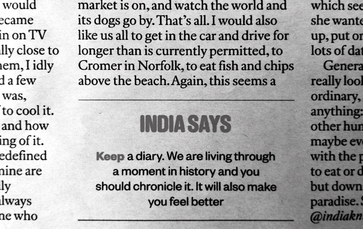 India says keep a diary bw